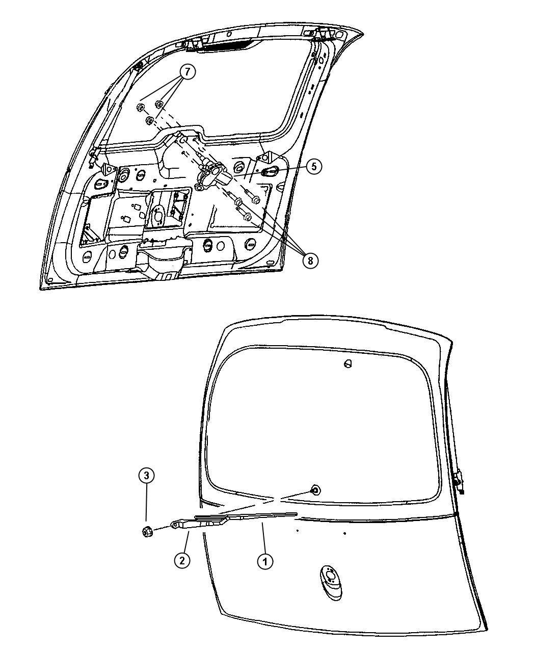 2007 Dodge Caravan Arm. Liftgate wiper. Up to 04/22/02