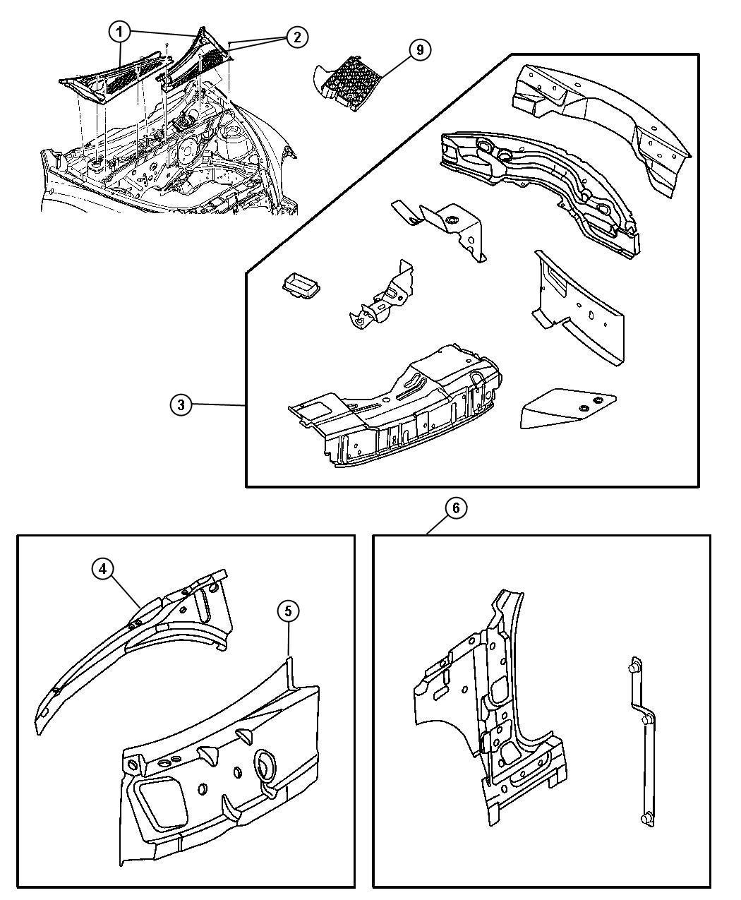 Chrysler PT Cruiser Pin, rivet. Retainer. M4.9x14.5. Cowl