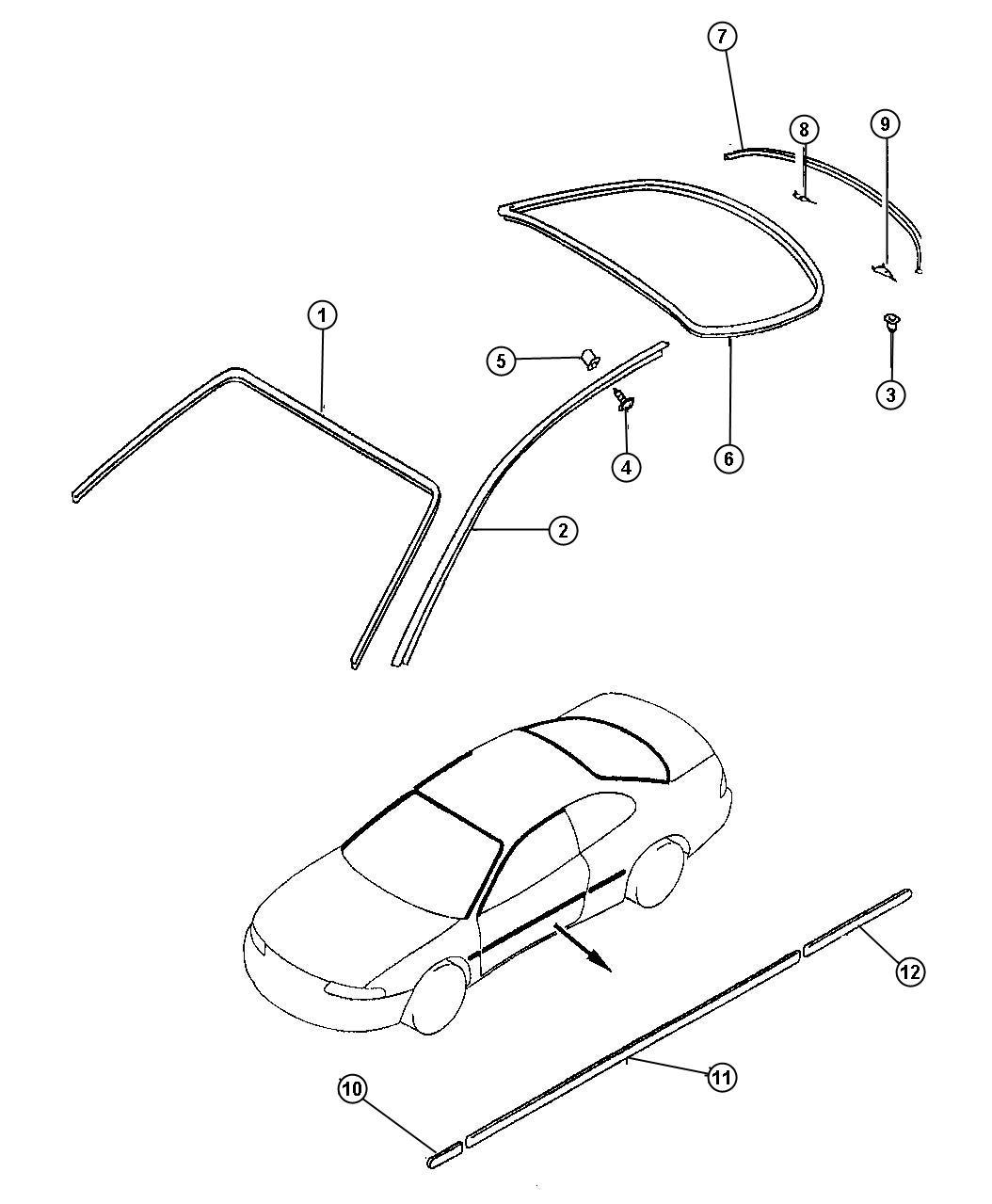 1998 Dodge Avenger Grommet. Tailgate molding. Air spoiler