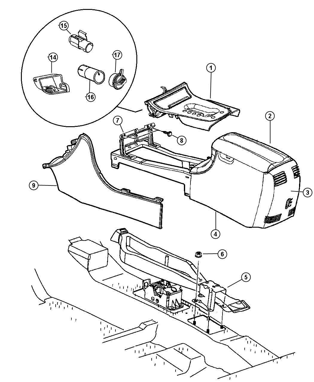 1999 Chrysler Concorde Latch. Armrest lid. [x5], [x9], [xb
