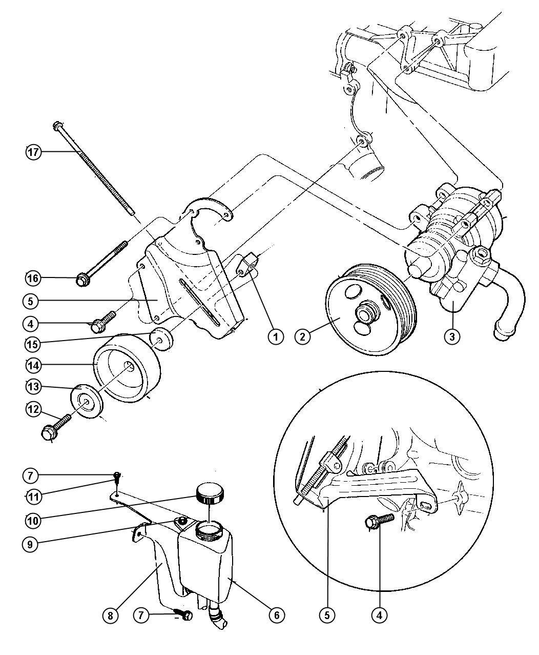 2002 Chrysler Voyager Cap. Power steering pump. Reservoir