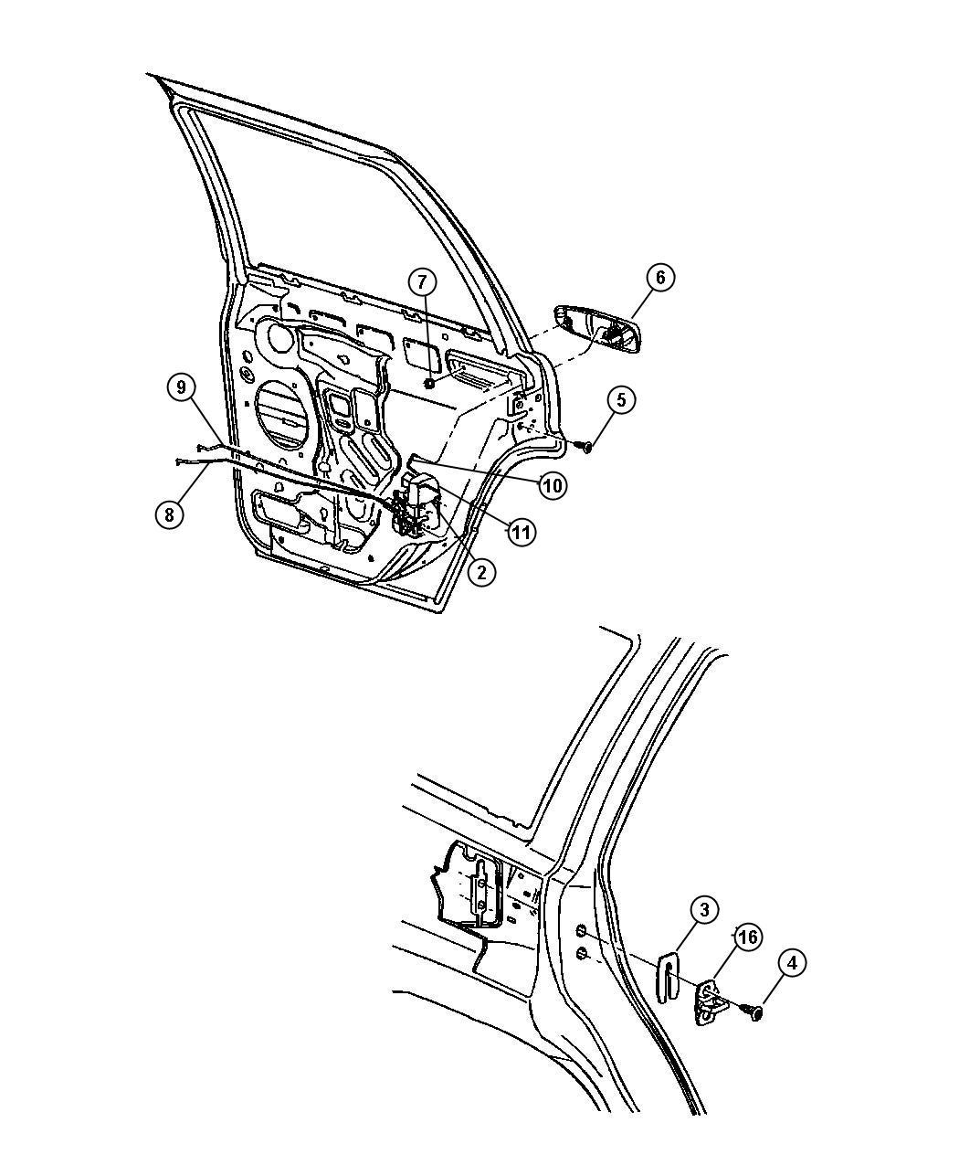 Jeep Grand Cherokee Latch. Rear door. Right. Controls