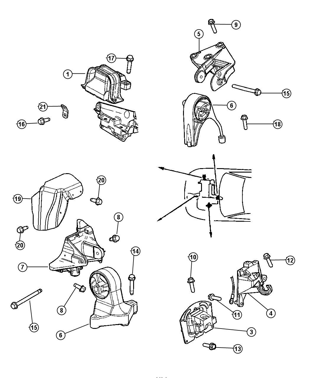 Chrysler Sebring Bolt, used for: bolt and coned washer