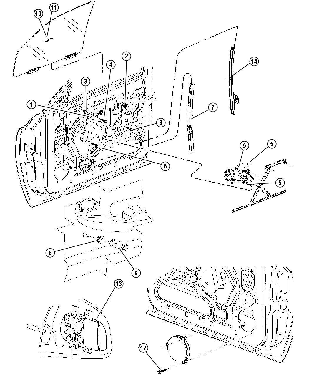 Dodge Dakota Regulator. Front door window. Left. Manual