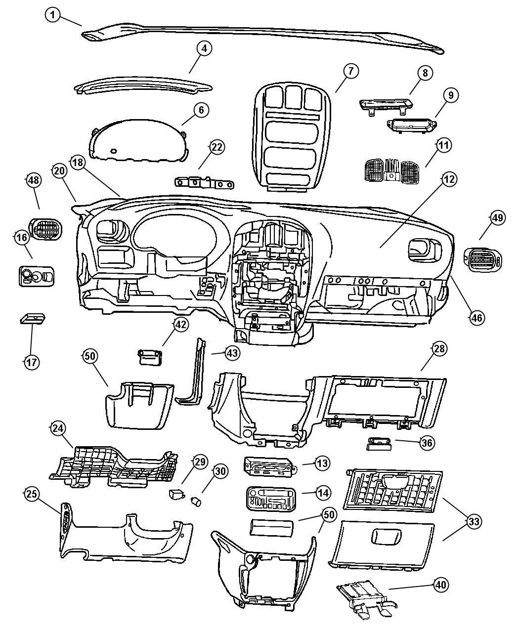 2003 Dodge Grand Caravan Bezel. Instrument panel. Over