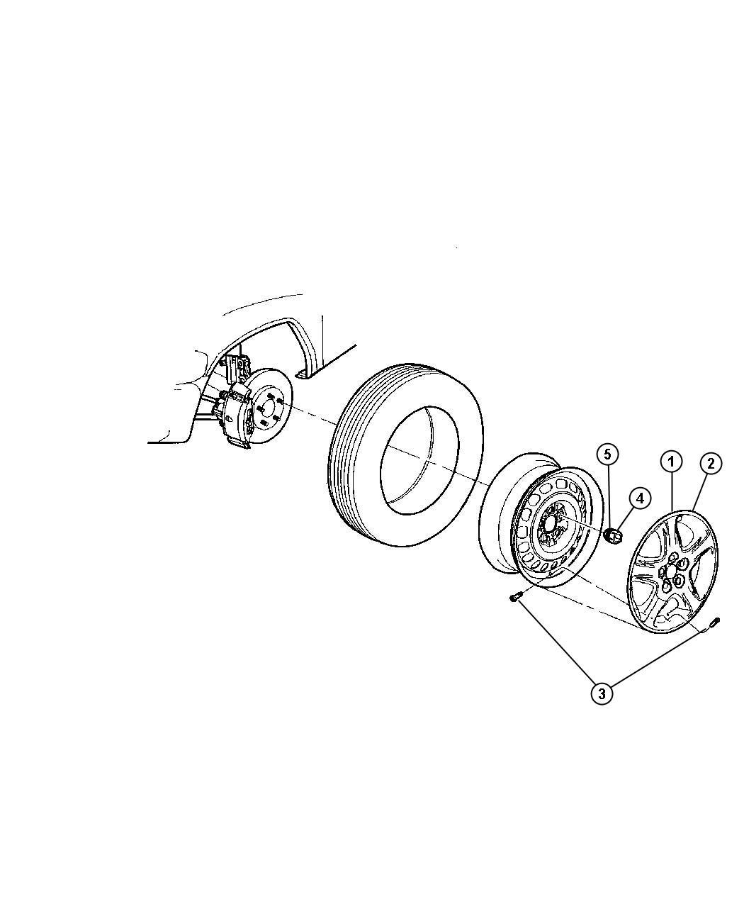 2002 Dodge Grand Caravan Cover. Wheel. 15. [wheel covers