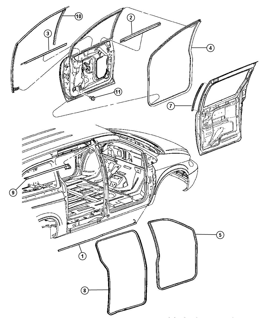 Chrysler Town & Country Weatherstrip. Front door belt