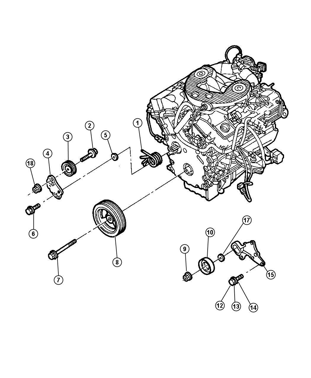 2002 Chrysler Concorde Pulley. Power steering pump