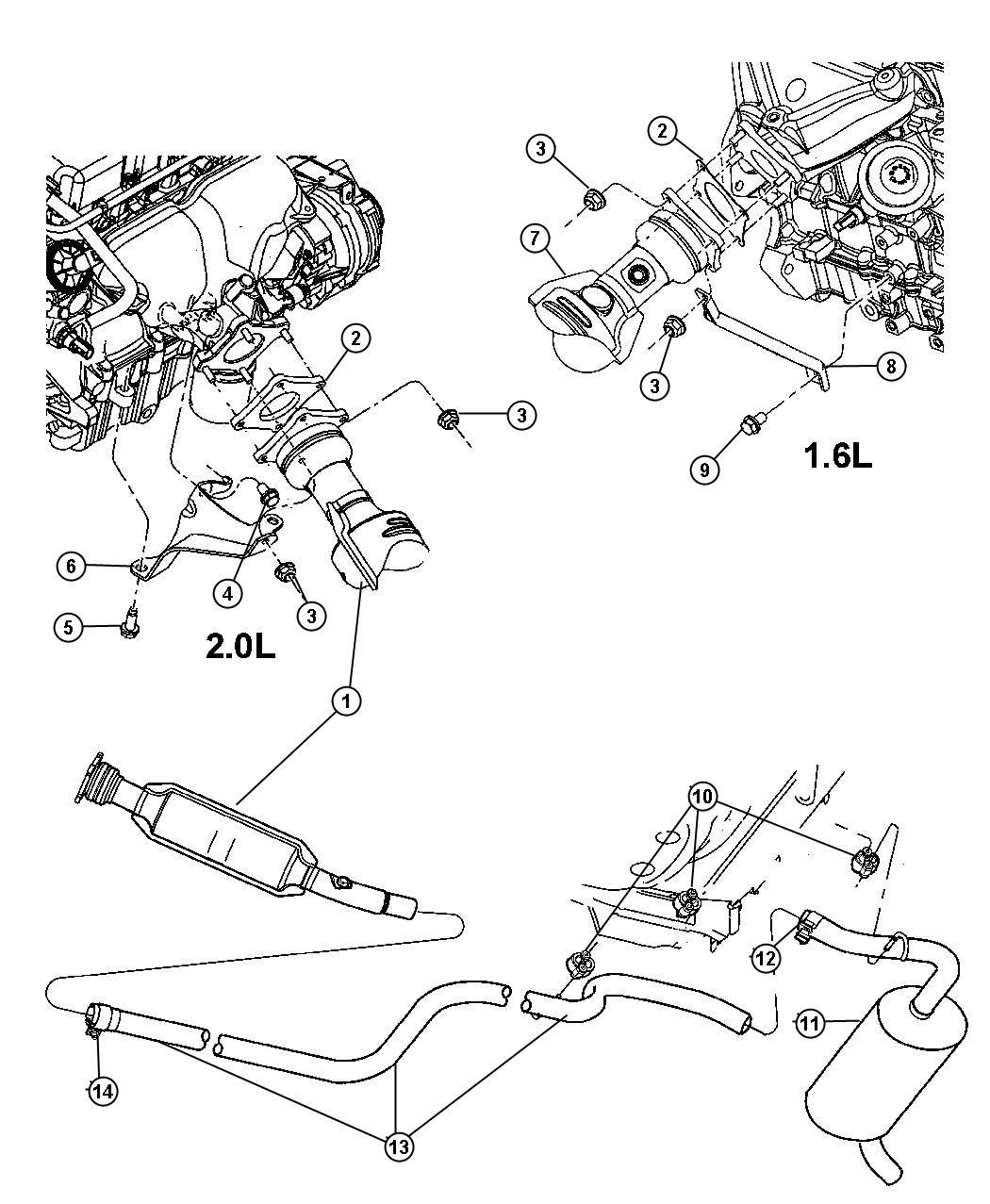 2002 Dodge Neon Clamp. Exhaust. Ratingblack, azq, xxq