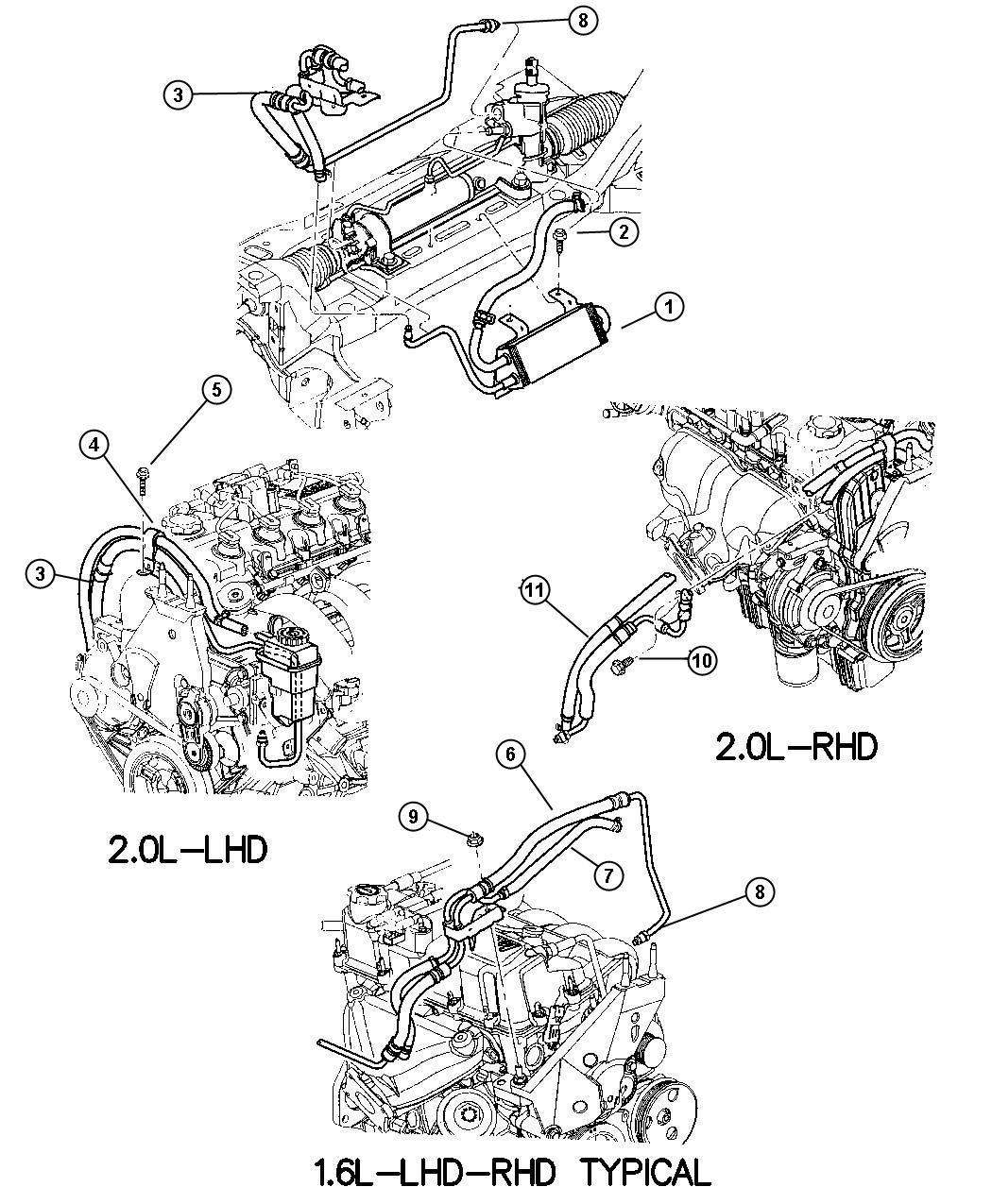 Dodge Ram 1500 Hose. Power steering pressure. Rhd