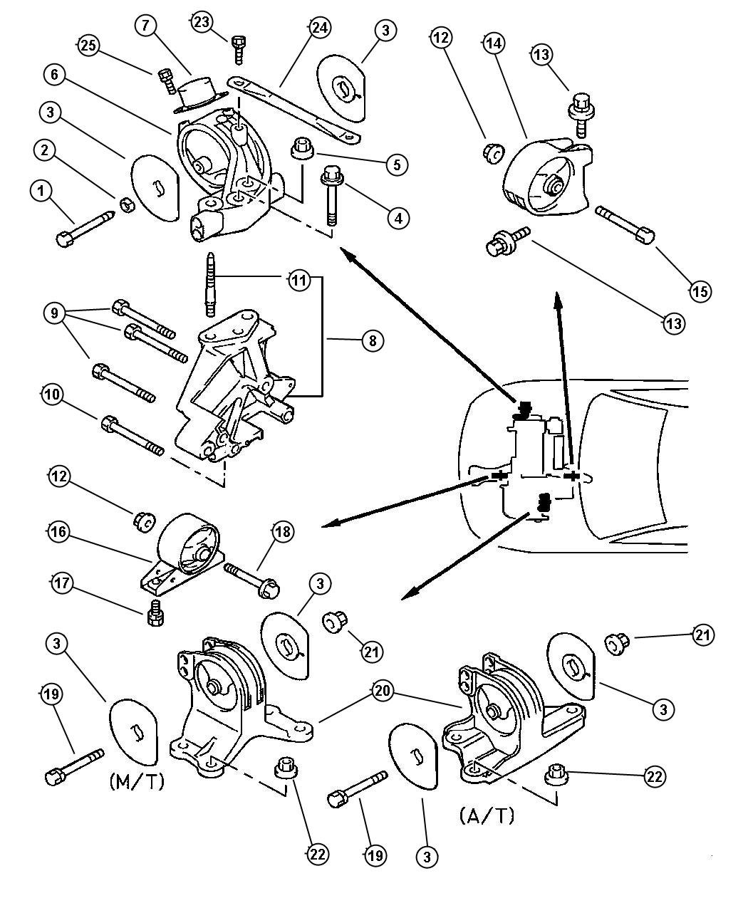 Dodge Stratus Nut. Hex flange. M12x1.75. Trans mounting