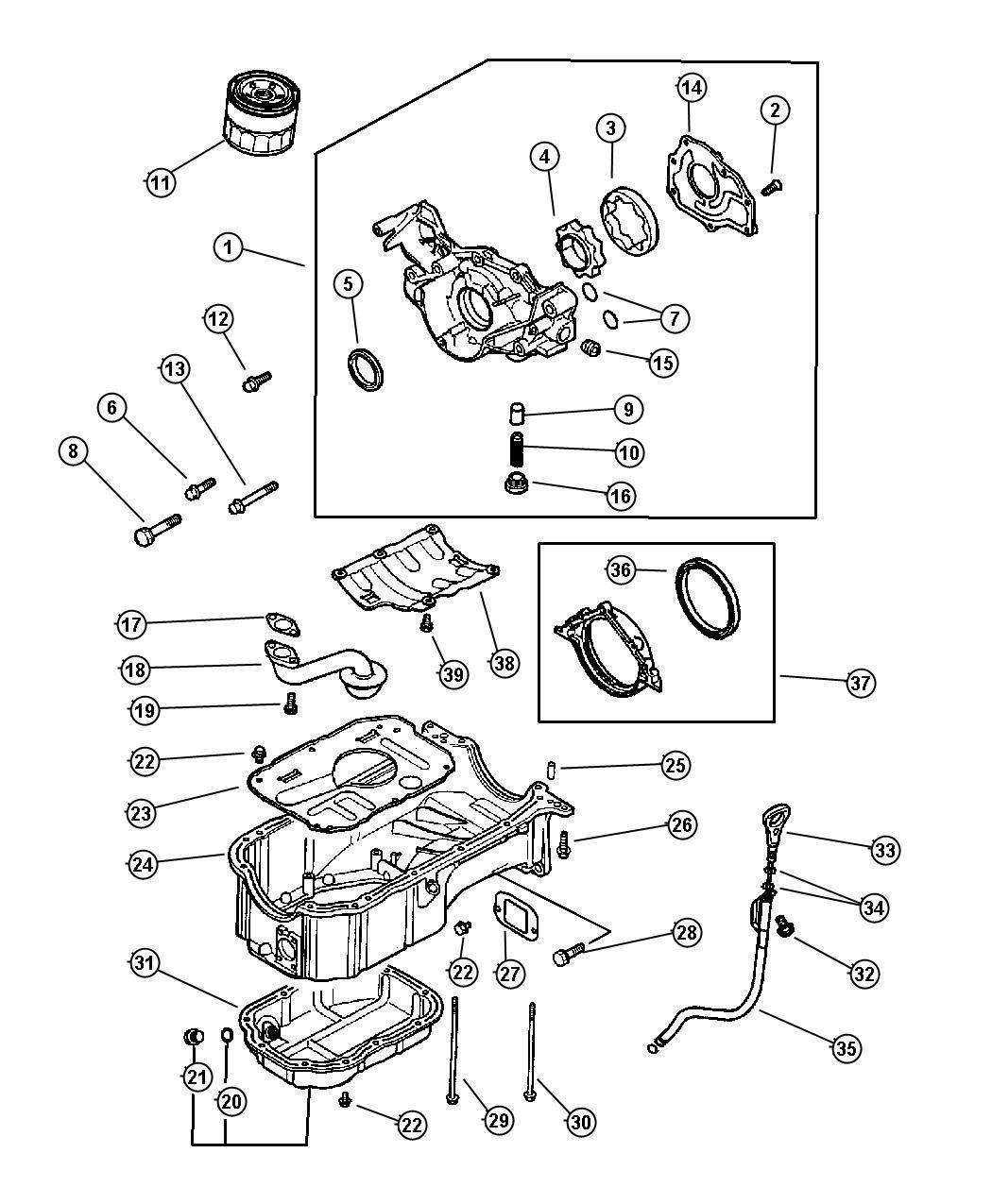 Chrysler Sebring Bolt. Hex flange head. Engine, oiling