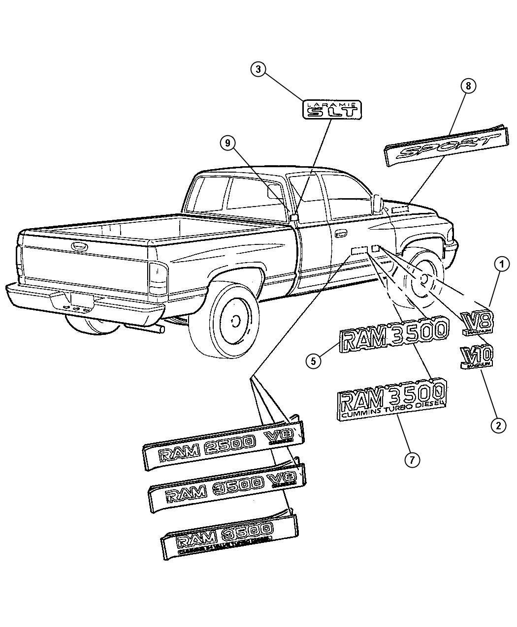 1998 Dodge Ram 3500 Nameplate. Door. Front fender, ram