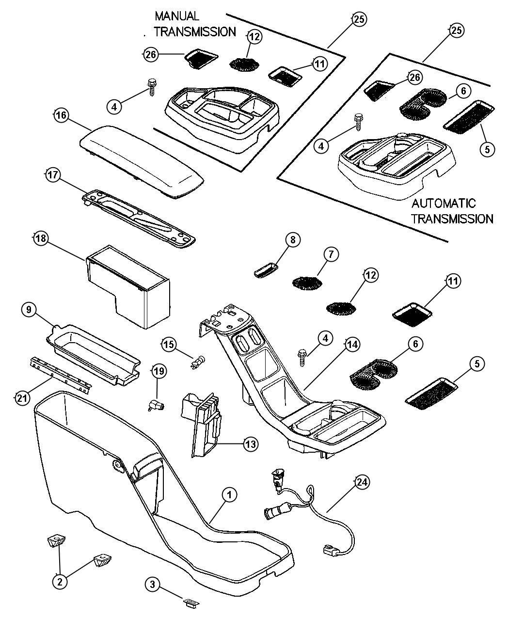 Dodge Dakota Console. Base. [l5] up to 01/14/02. Trim