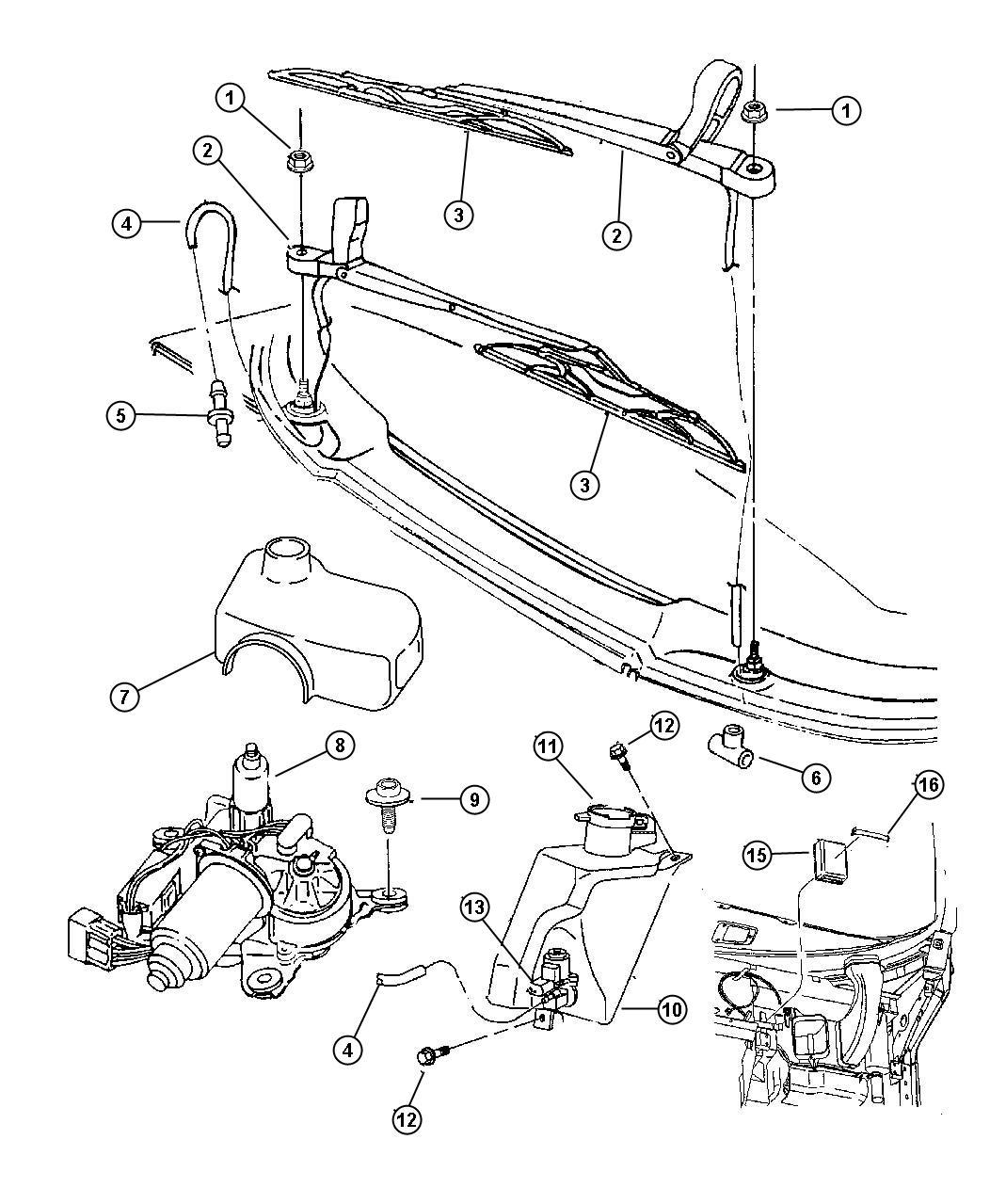 1995 Dodge Viper Motor. Windshield wiper, wiper. Right