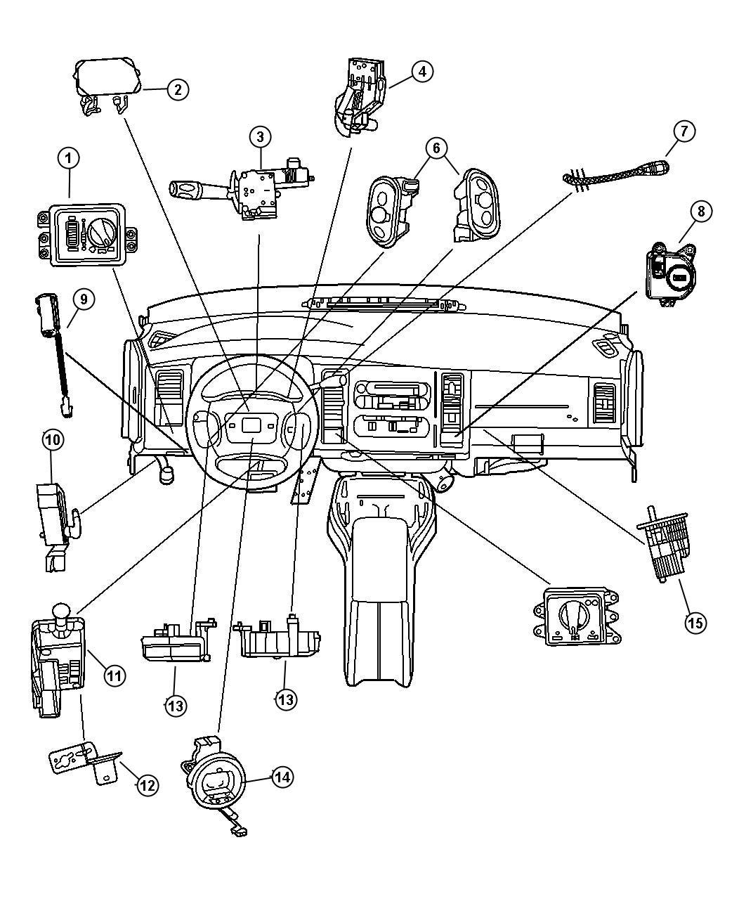 2001 Dodge Ram 3500 Switch. Parking brake. Front