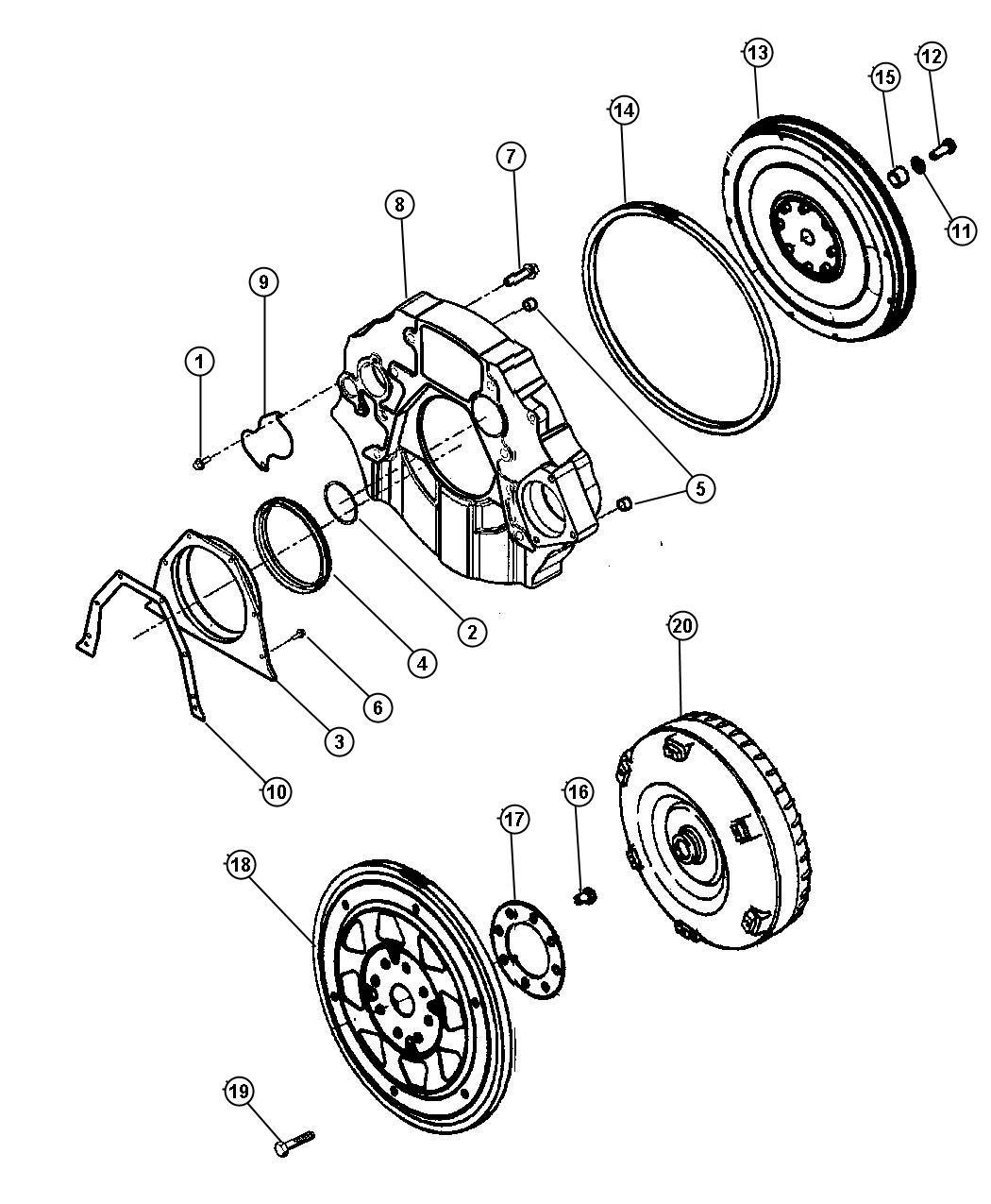 2003 Dodge Ram 3500 Seal. Crankshaft oil. Rear. Automatic