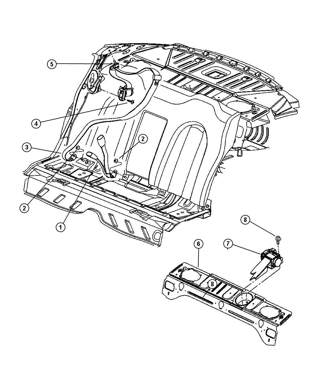2001 Chrysler 300 Seat belt. Rear inner. [dv]. Trim: [all
