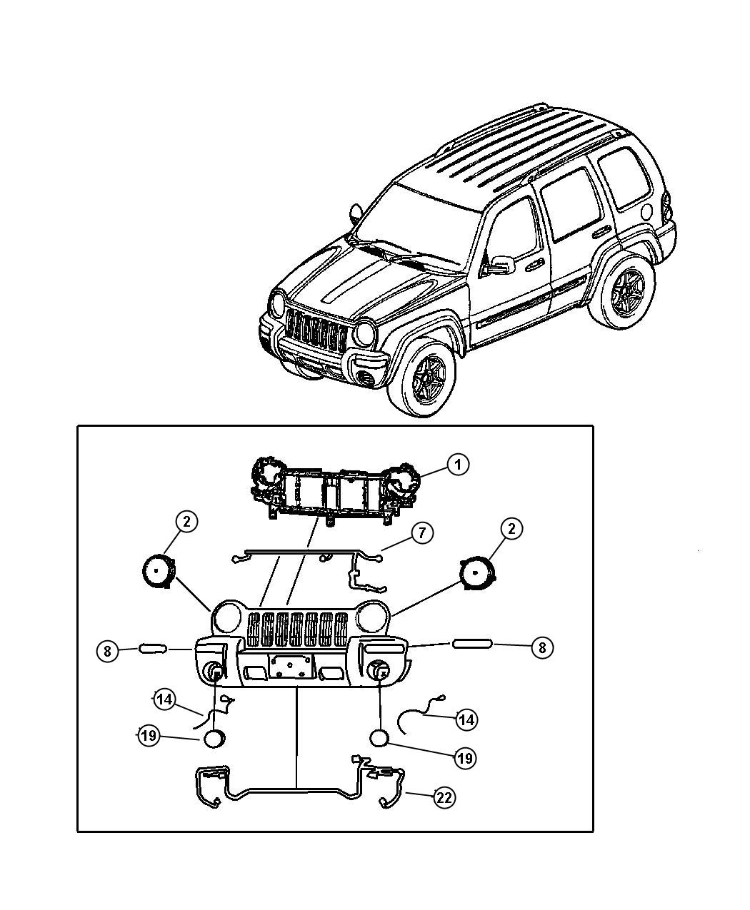 Jeep Liberty Reinforcement. Grille opening. Computer