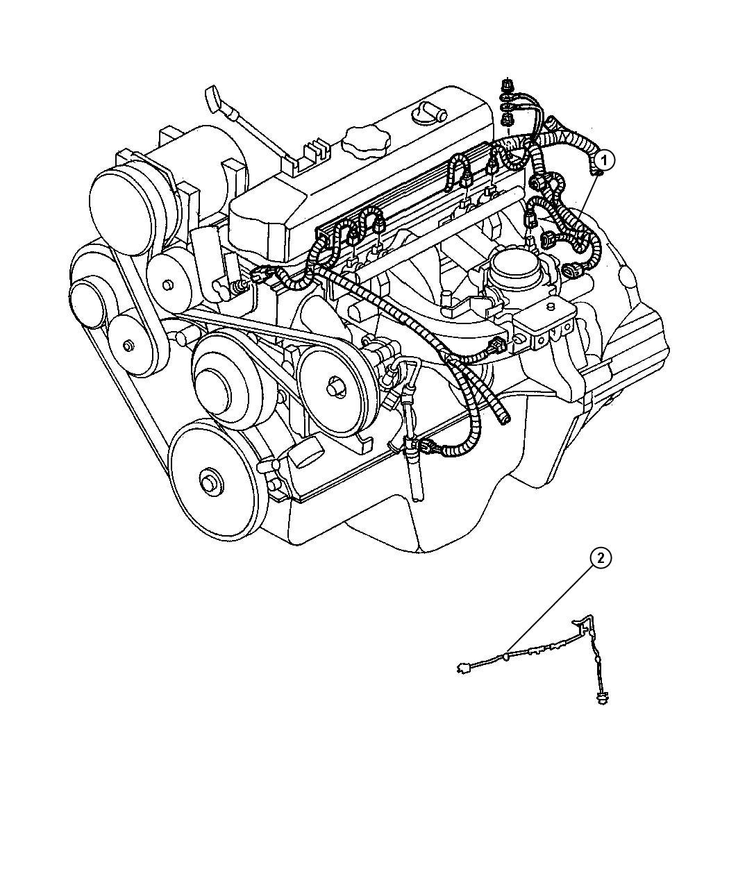 Dodge Durango Wiring. Engine. Federal and export, u.s. 50