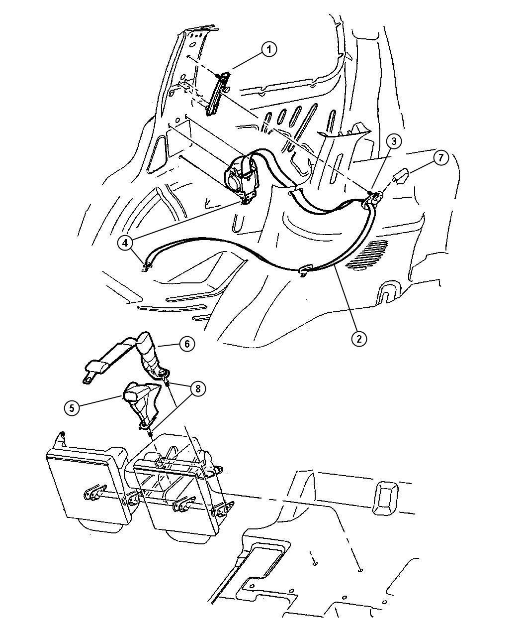 2008 Chrysler Sebring Seat belt. Rear inner. [dl, dv