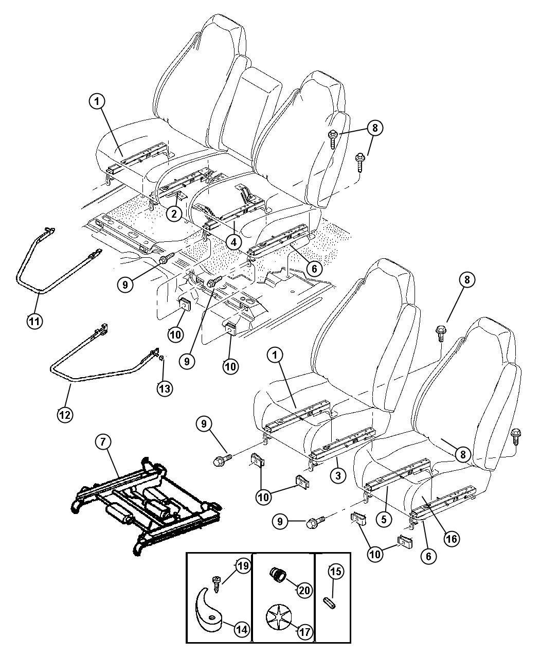 Dodge Durango Adjuster Seat Driver Power Bucket