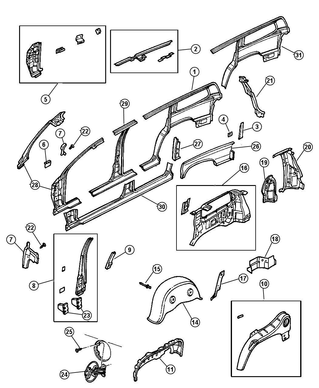 Dodge Durango Panel. Quarter inner. Right. Outer. Bodyside