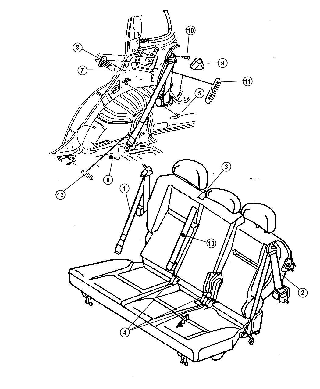 2012 Dodge Journey Seat belt. Outboard. Buckle half w