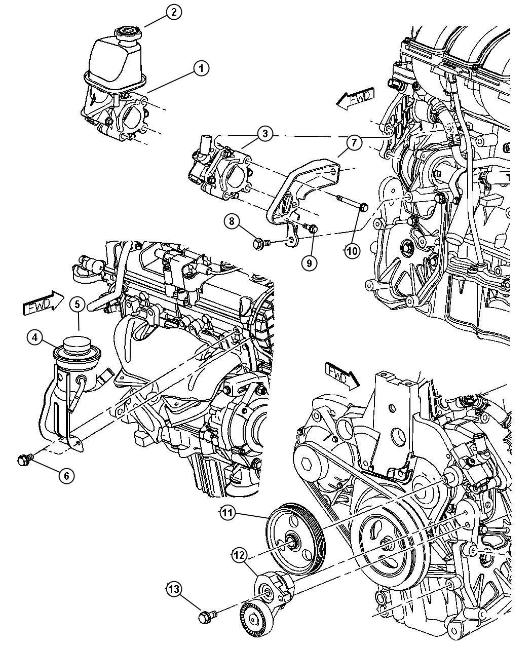 2003 Chrysler PT Cruiser Cap. Power steering reservoir