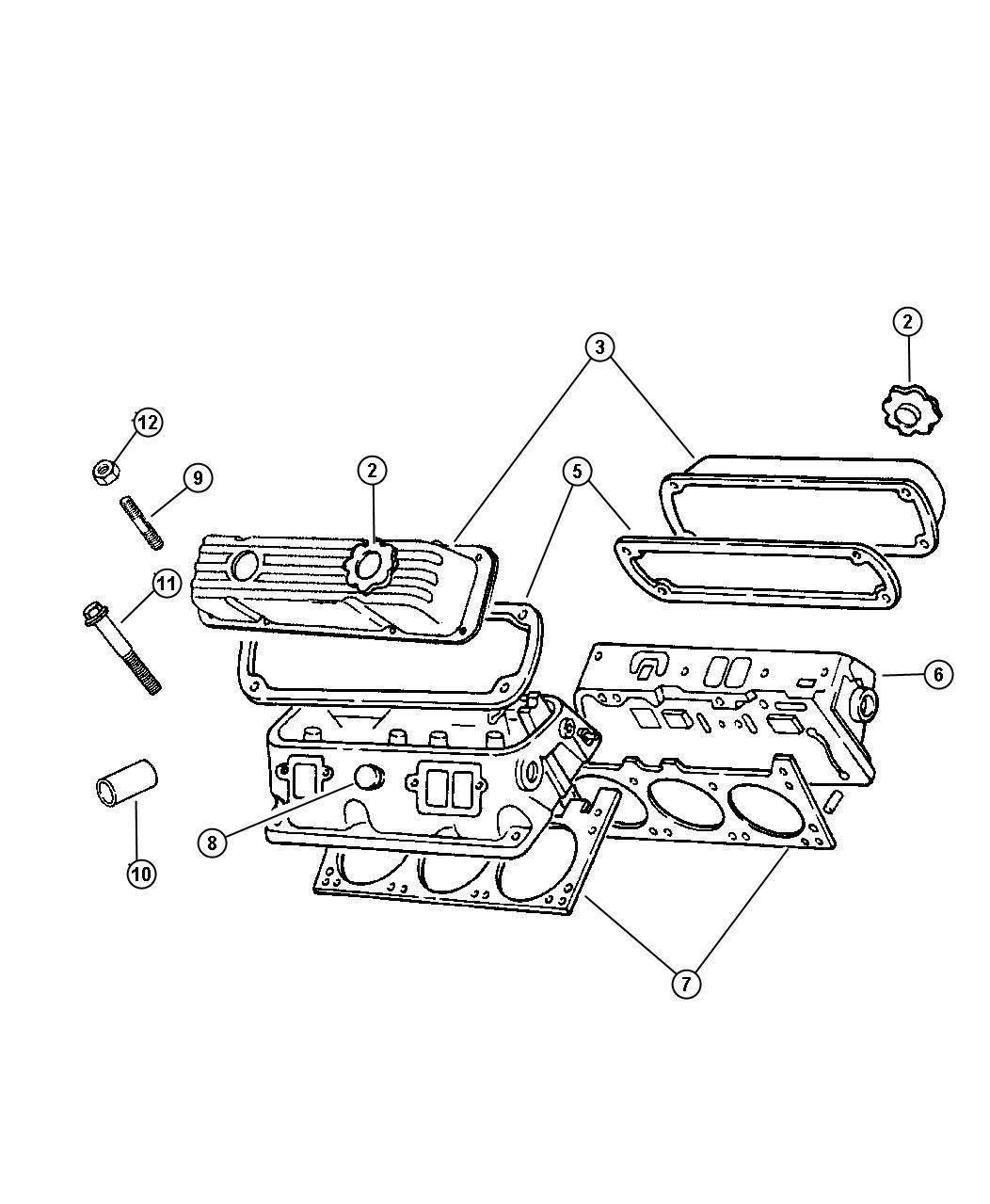 Dodge Dakota Gasket Valve Cover Cylinder Head Engine