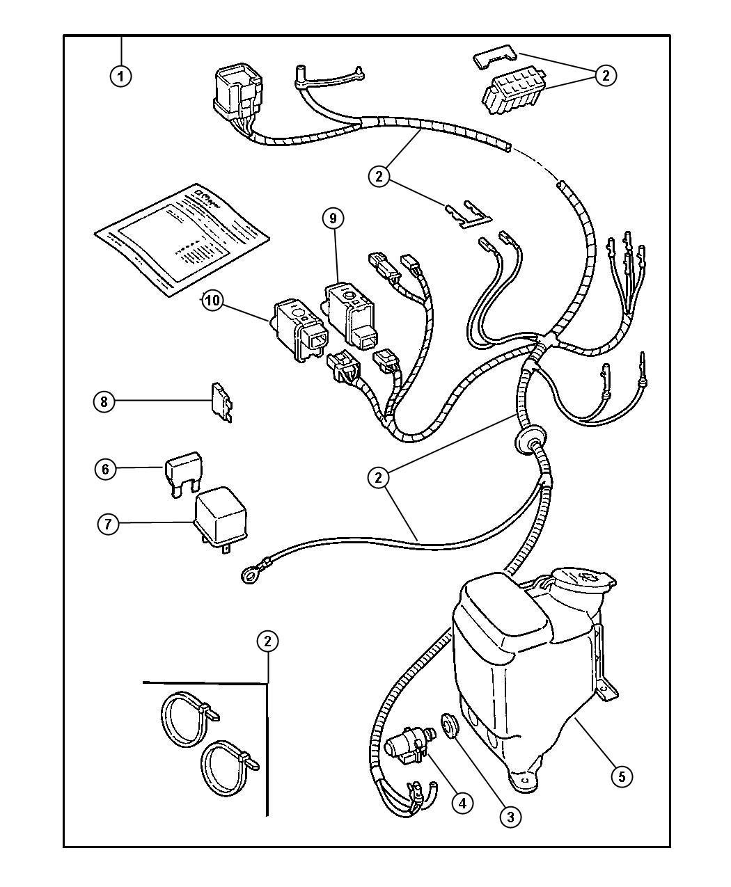 Jeep Wrangler Grommet. Washer level sensor, washer