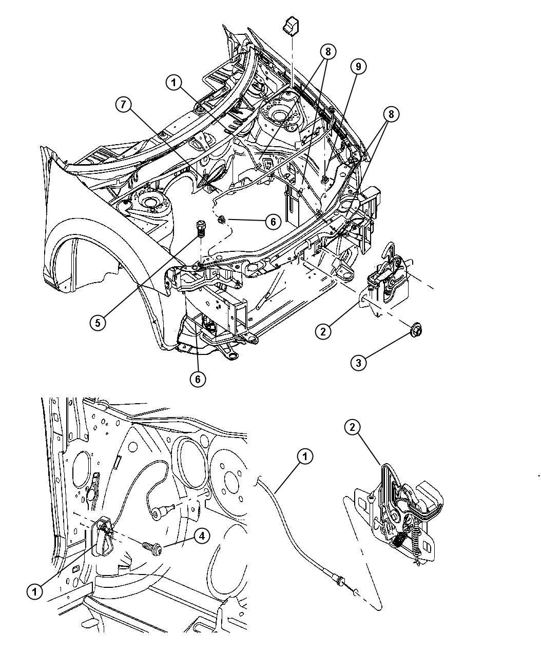 2002 Chrysler Sebring Latch. Hood. Release, mopar, body