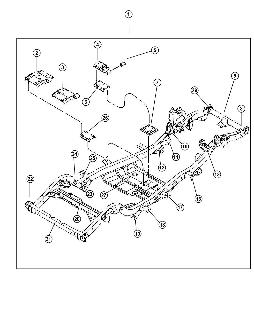 2003 Jeep Wrangler Bracket. Transmission mount. Engine