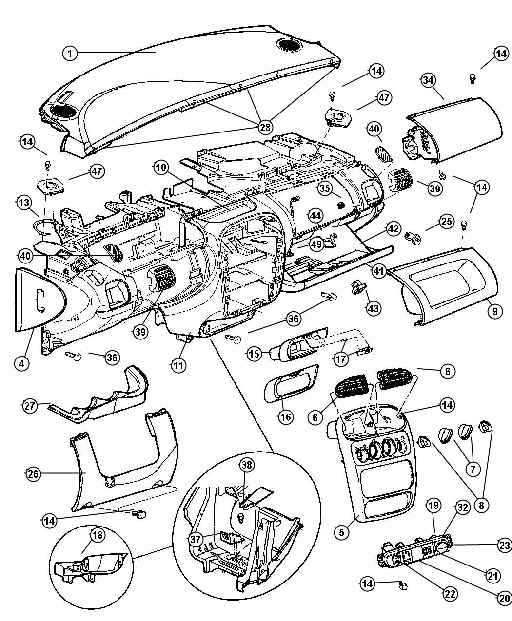 Dodge Neon Cover. Instrument panel. [dv][turbo boost gauge