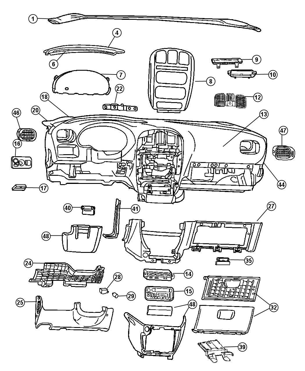 2001 Chrysler Voyager Bezel. Instrument panel. [l5] plug