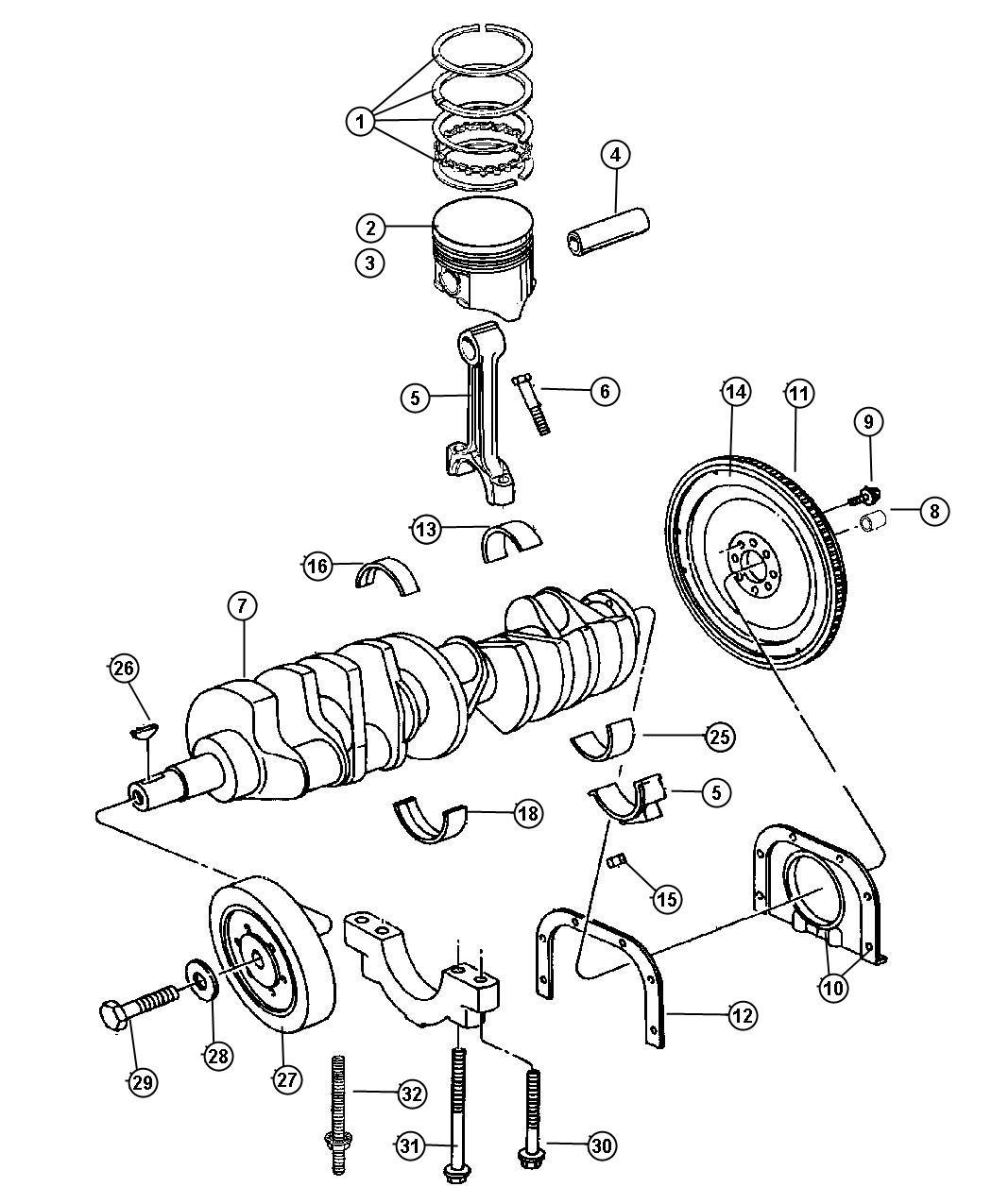 1998 Dodge Viper Bearing package. Crankshaft. 010 u/s. [#1