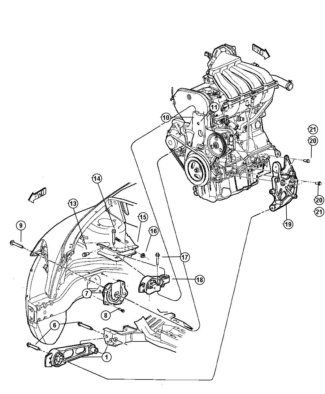 Chrysler Town & Country Support. Engine mount. Body side