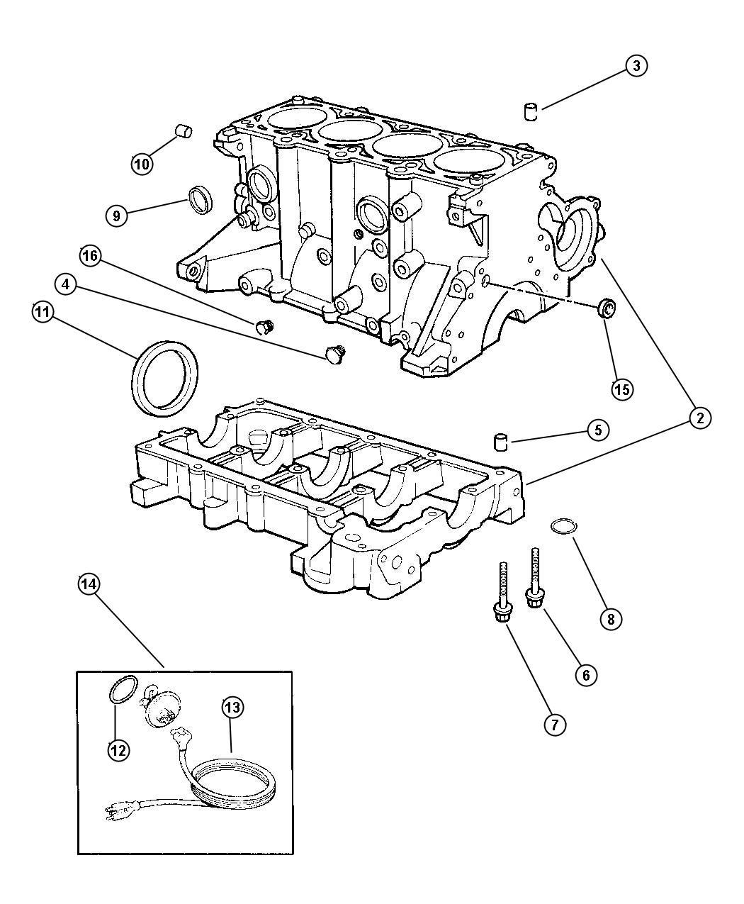 Dodge Stratus Gasket package. Engine lower. Emissions
