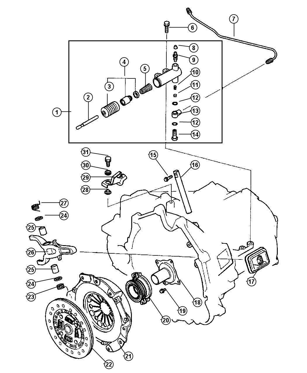 Chrysler Sebring Bolt. Cylinder, controls, clutch