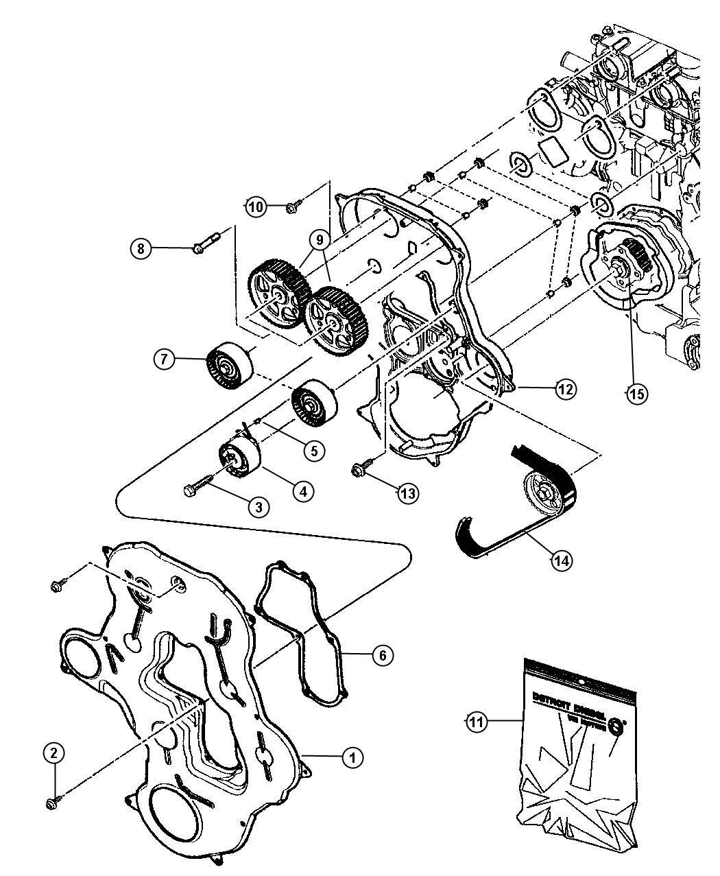 Chrysler Pt Cruiser Gasket Kit Timing Cover Engine Belt