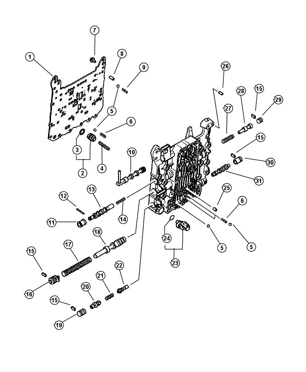 Chrysler Sebring Valve. Valve body. Steering, components