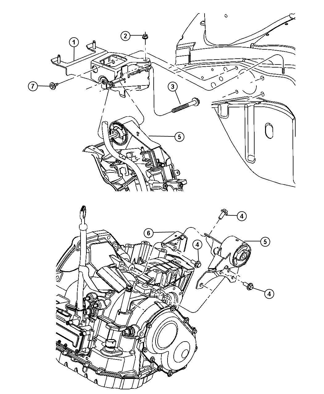 2003 Dodge Neon Support. Engine mount. Transmission to