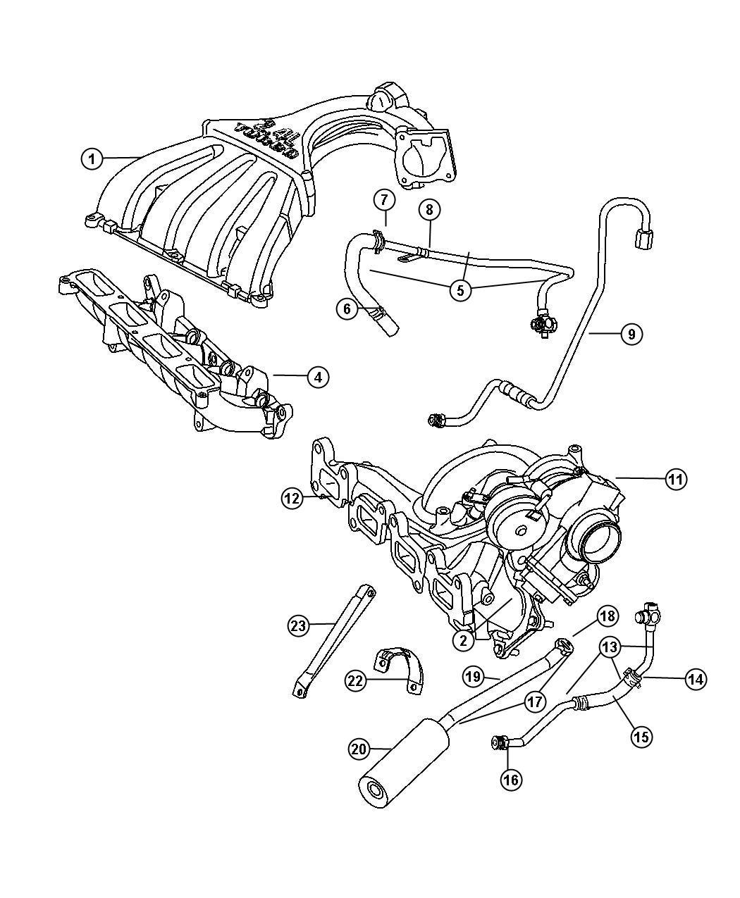 Dodge Neon Tube. Turbo oil feed. Manifold, exhaust