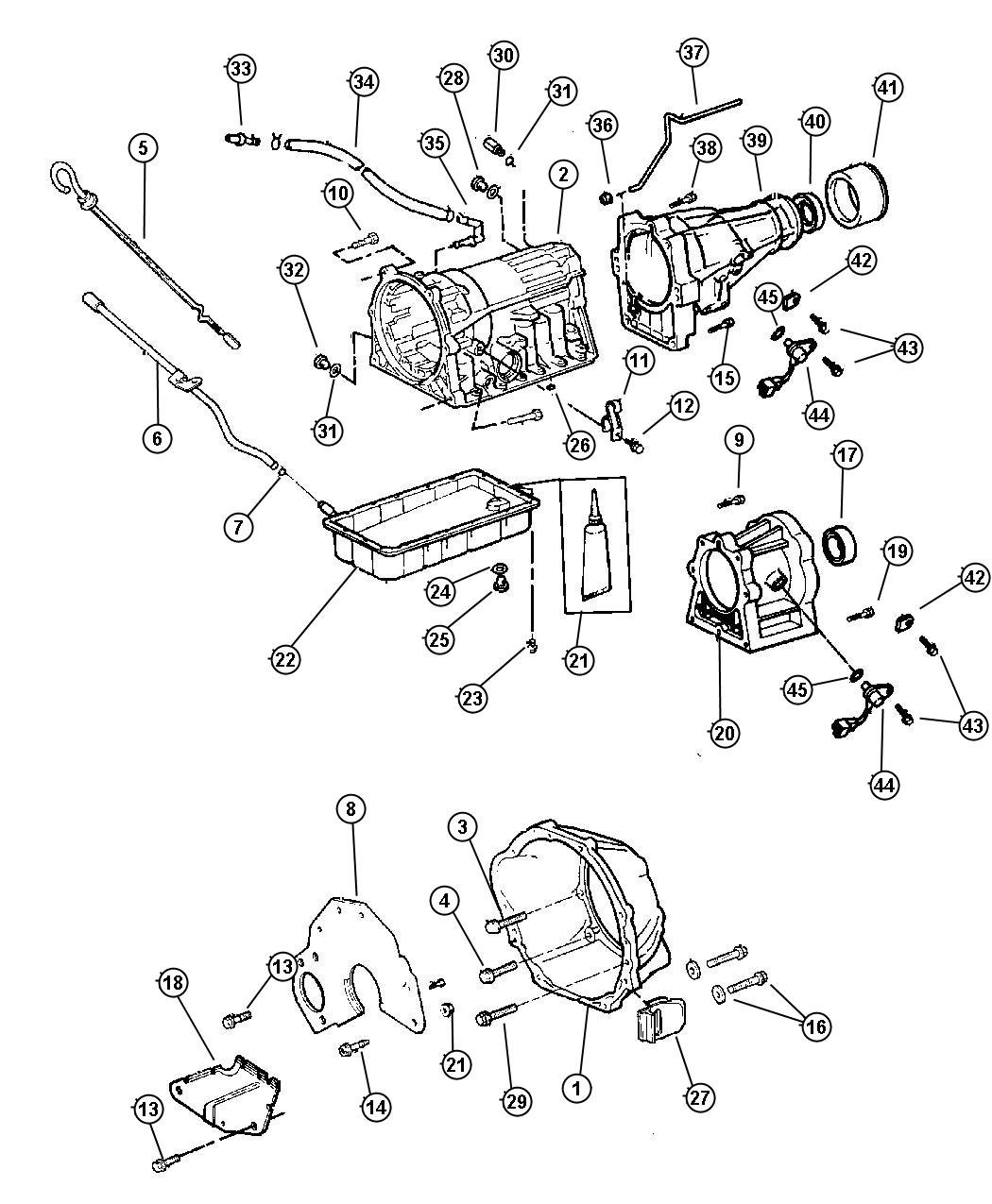 1997 Jeep Cherokee Pan. Transmission oil. 52104180ab
