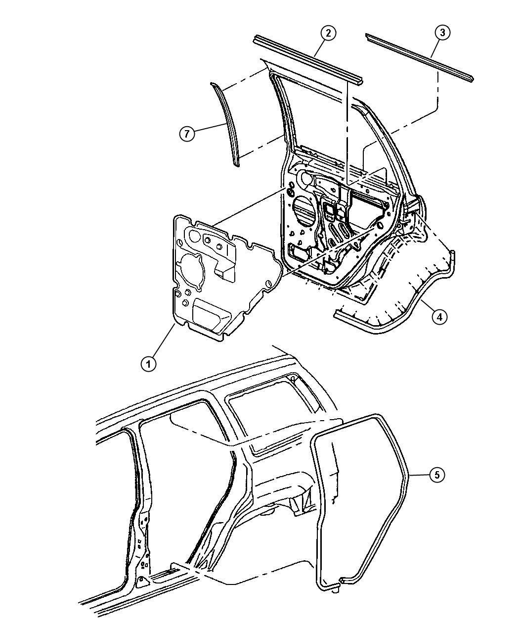 Dodge Sprinter Weatherstrip Rear Door Belt Left