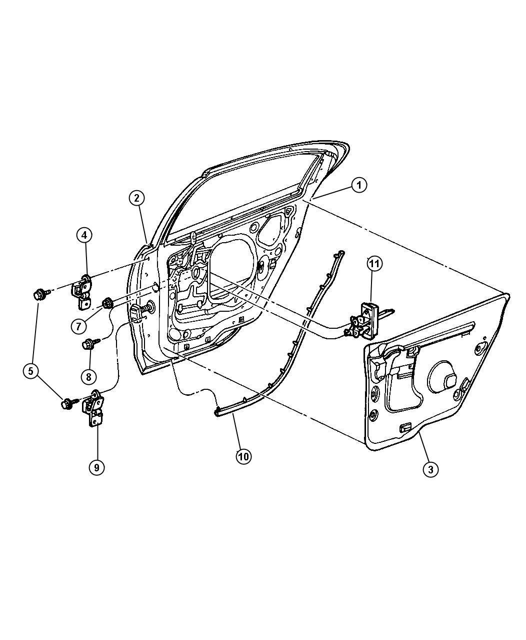 2001 Dodge Intrepid Seal. B-pillar. Check strap