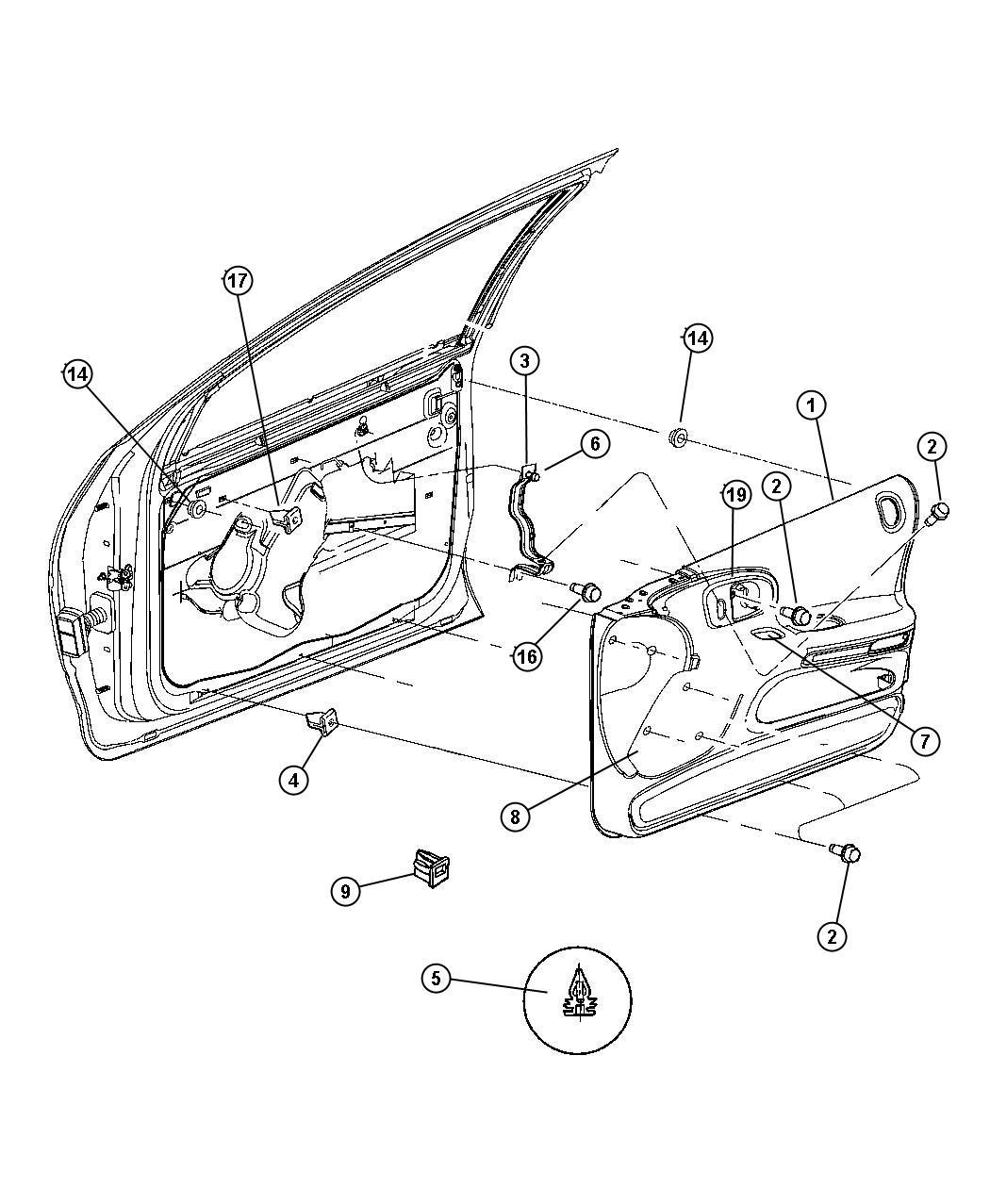 Dodge Intrepid Kit Door Handle Left Dark Slate