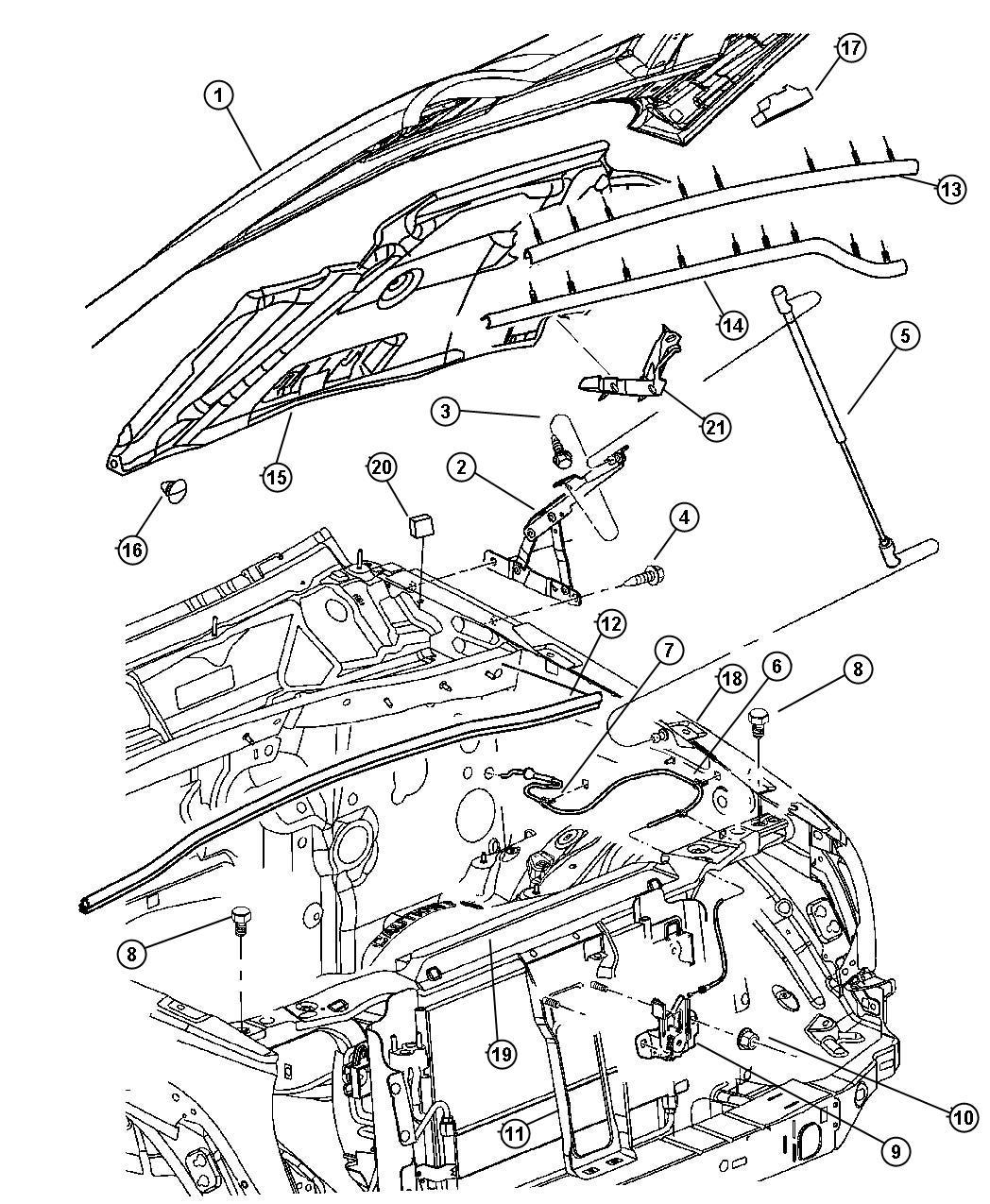 Jeep Liberty Cable. Hood release. Mopar, latch, hinges
