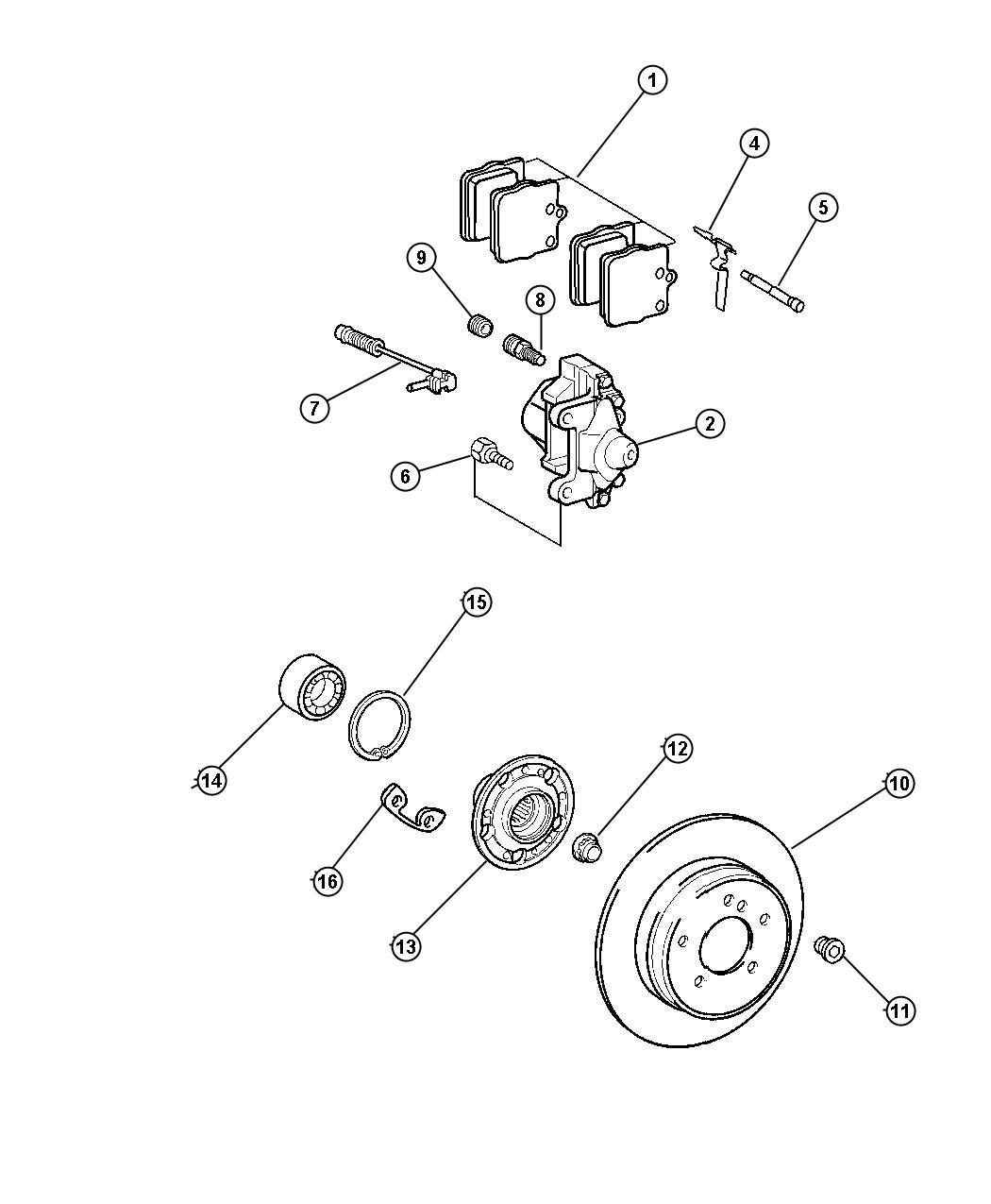 2005 Chrysler Crossfire Screw. M10x23. Rear, brakes, disc