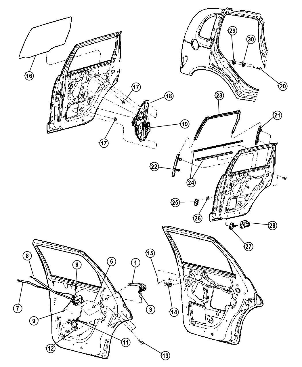Chrysler Pt Cruiser Link Latch Actuating Right Locks